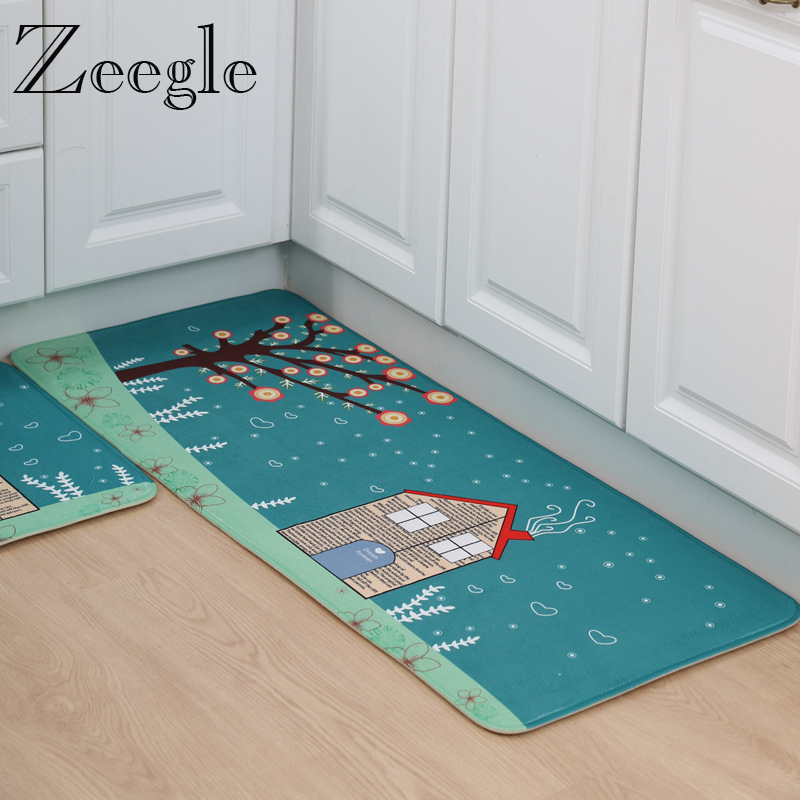 Zeegle Cartoon Style Kitchen Absorb Water Mat Anti Slip