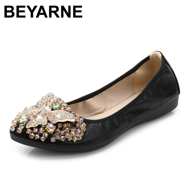 b24fdc973b0663 BEYARNE Women Crystal Ballet Flats Size 34-43 2017 Spring Solid Gold Bling  Cloth Pointed Toe Slip-On Flat Shoes Woman FD08