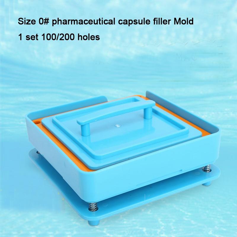 1Set 100/200 Holes Manual Capsule Filling Machine, Size 0# Pharmaceutical Capsule Filler Mold, Capsule Powder Refillable Machine