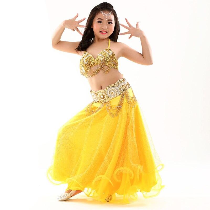 Enfants filles danse du ventre Costume (haut, ceinture, jupe) Performance des enfants danse du ventre 3 pièces robe orientale vêtements indiens pour les enfants