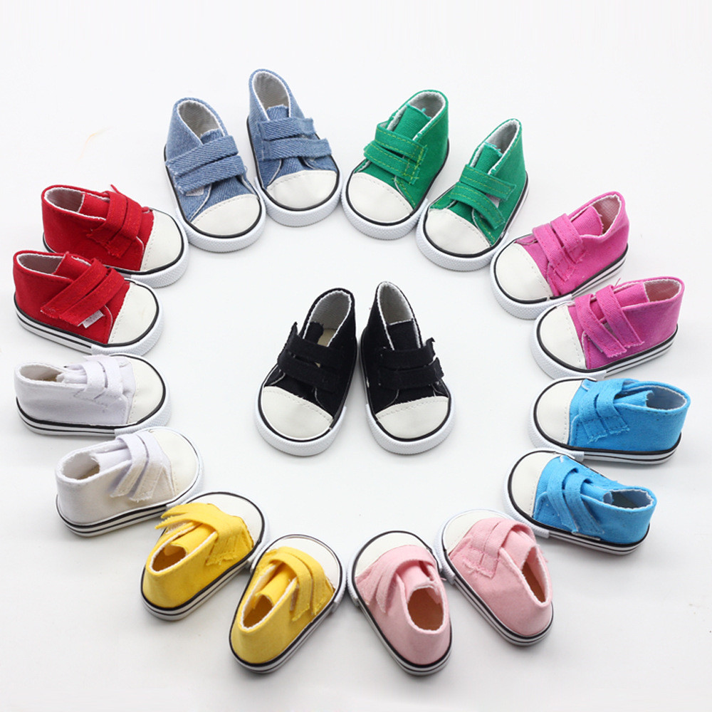 43cm Reborn Baby Doll Shoes White Black Red Blue Canvas Shoes For 18inch Girl Dolls Mini Fashion Shoes American Doll Accessories