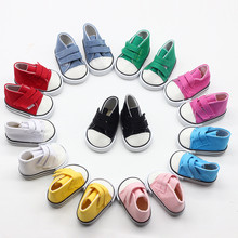 43cm Reborn Baby Doll Shoes White Black Red Blue Canvas for 18inch Girl Dolls Mini Fashion American Accessories