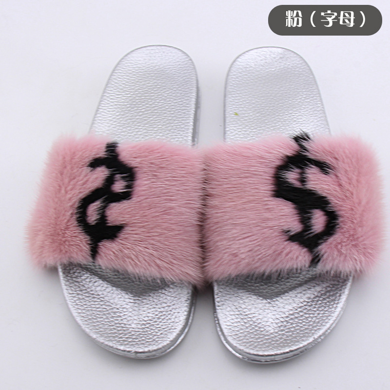 Womens Raccoon Fur Slipper Beach Sandals Real Fur Slides Anti-skidding Flip Flop Flats Fashion Outdoor Female Flat Slippers