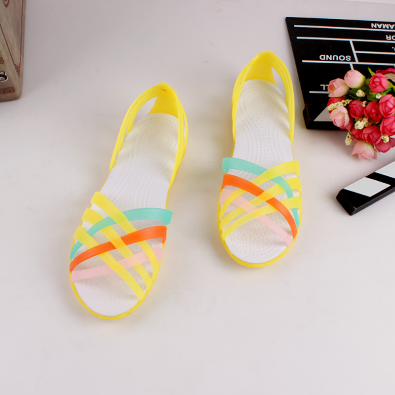 Rainbow Jelly Shoes Woman Flats Sandalias Women Sandals Summer New Candy Color Peep Toe Stappy Beach Valentine Mujer Slippers free shipping candy color jelly sandals new plastic chain beach shoes chain flat bottomed out sandals lace up chains women shoes