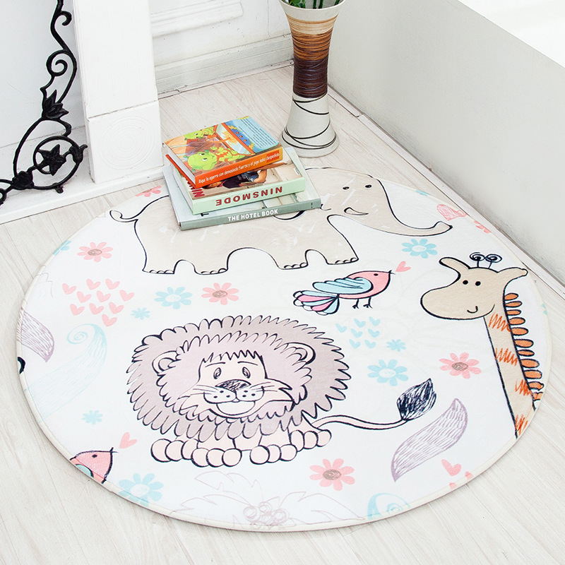 Cartoon Animal Round Area Rug for Kids Room Children Bedroom Fresh Style Non-Slip Living Room Carpet Computer Chair Floor Mat