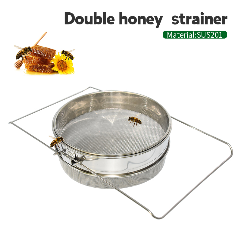 Brand Stainless Steel Double Honey Strainer Honey Filters Strainer Network Stainless Steel Screen Mesh Filter Beekeeping Tools