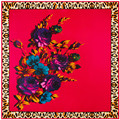 New Spring High Quality Leopard Print Rose Pattern Headscarf Silk Brand Scarf Twill Square Scarf Shawl Luxury Hijab SH15102222