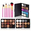 Makeup Set 7PCS Pink Makeup Brushes +15 Colors Eyeshadow Palette Matte Shimmer Nude Eye Shadow Eyeliner Stick Women Make Up