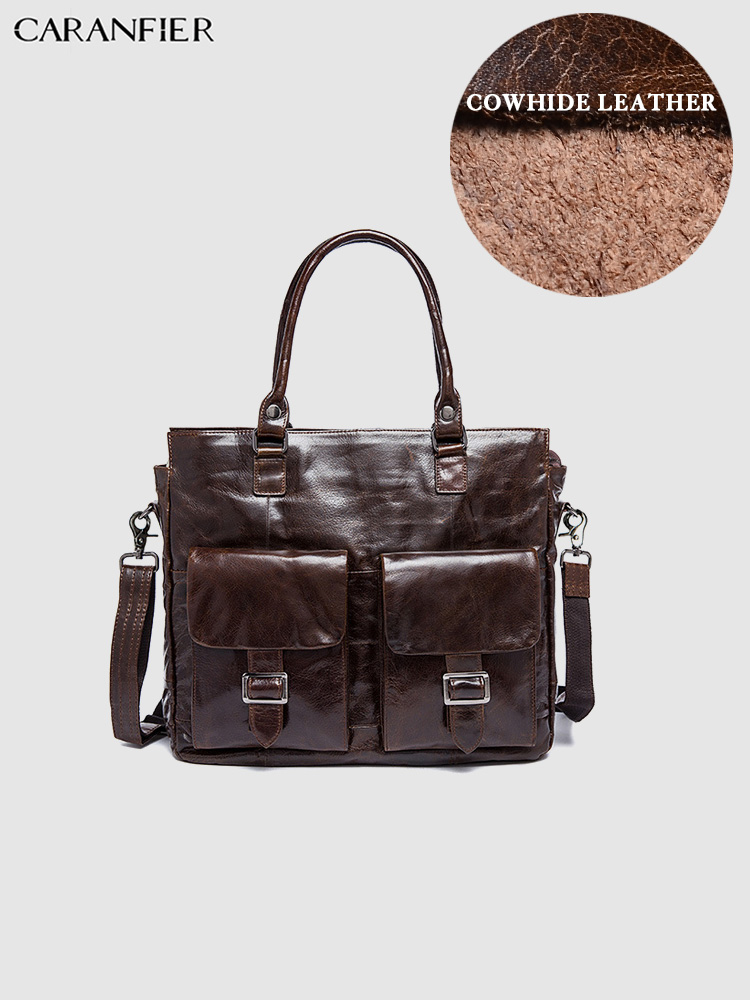 CARANFIER Mens Briefcases High Quality Genuine Cowhide Leather Business Shoulder Bags 14 Inch Laptop Computer Solid Travel Bags