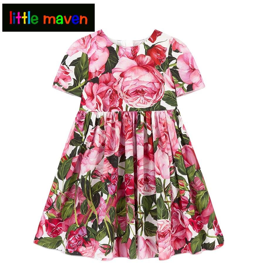 Brand Girls Dress Vintage Flower Sundress for Party Cotton Summer Princess Wedding Chrismas Dresses Baby Girl