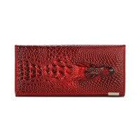 Herald Fashion Women Wallet Crocodile Head Cow PU Leather Wallet Women Purse 3D Long Designer Money