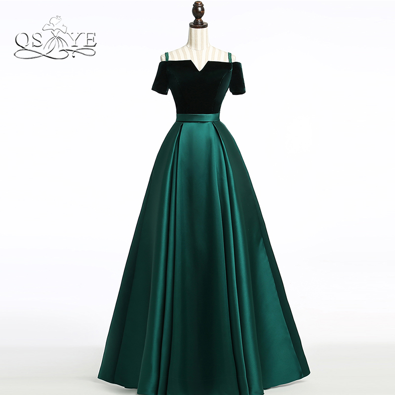 QSYYE 2019 зеленые бархатные длинные элегантные платья для выпускного лодочка с коротким рукавом длиной до пола женское вечернее платье праздн...