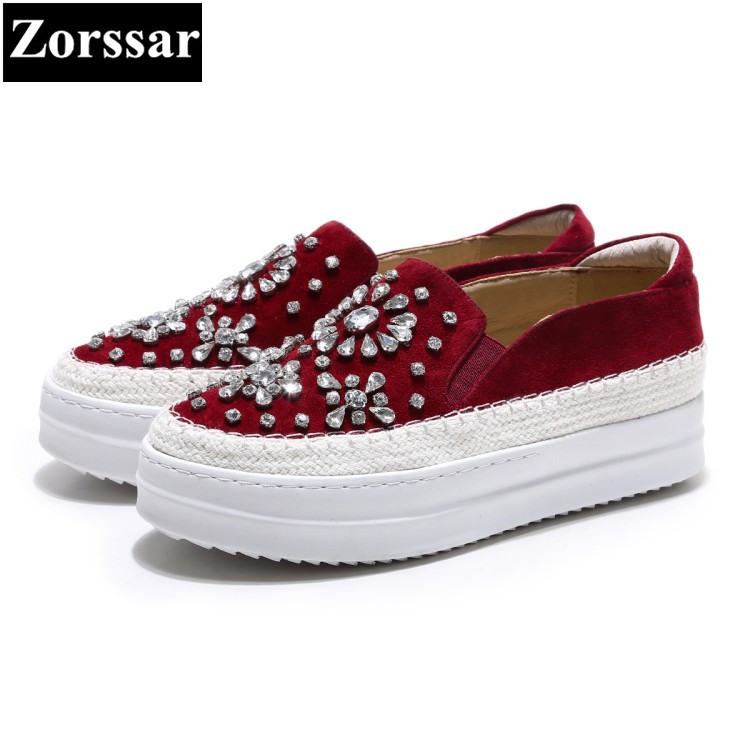 {Zorssar} 2017 NEW Arrival Fashion Rhinestone Women platform Loafers Female Casual Flat shoes Suede Flats Womens moccasins Shoes minika new arrival 2017 casual shoes women multicolor optional comfortable women flat shoes fashion patchwork platform shoes