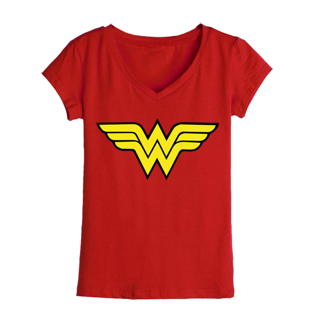 Wholesale women t shirts woman logo comics printed v neck for Printed t shirts in bulk