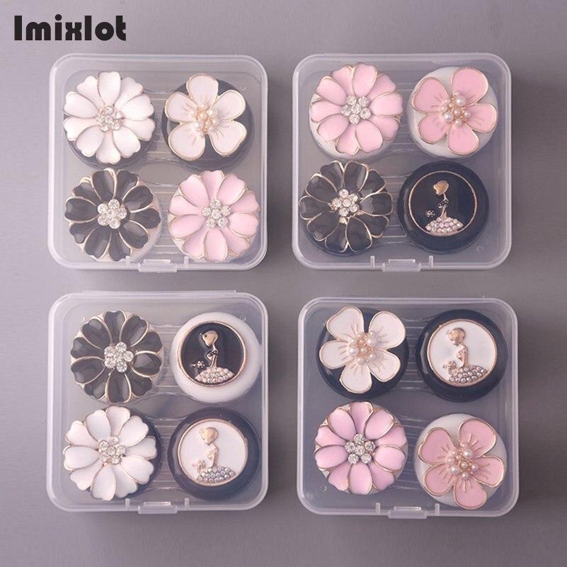 1 Box Tragbare Blume Brille Doppel Kontaktlinsen Box Kontaktlinsen Fall Für Augen Pflege Kit Halter Container Geschenk Zufalls Farbe