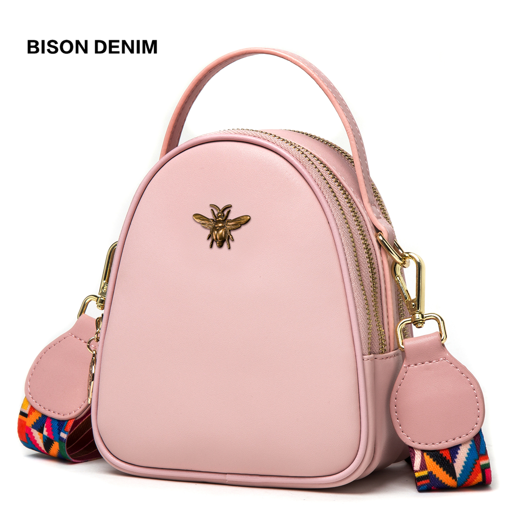 BISON DENIM Leather Women Bags Luxury Handbags Women Bags Designer Female Shoulder Bags For Women 2018