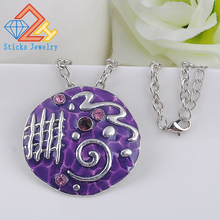 купить Vintage Necklace Pendant for Women Folk Custom Enamel Rhinestone Round Shape Fashion Jewelry по цене 173.25 рублей
