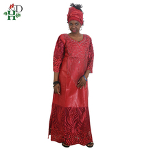 H&D african dresses for women head wraps robe africaine beading lace bazin outfit dress clothes south africa