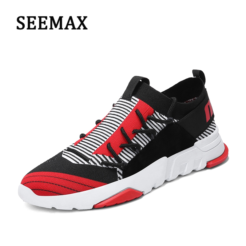 Mens Outdoor Running Shoes Man New Design Sports Shoes Comfortable Athletic Zapatillas Flyknit Platform Sneakers Boys