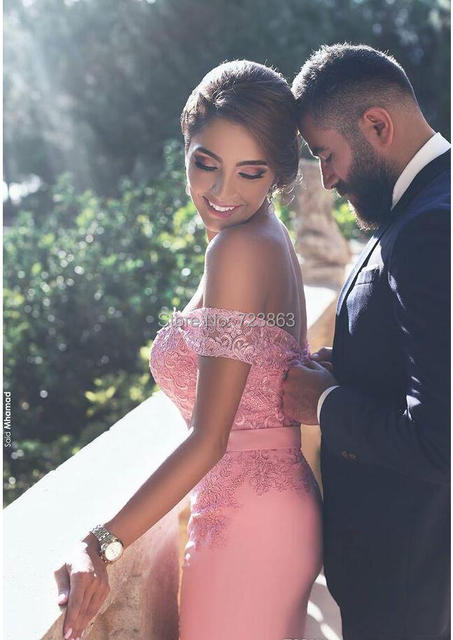New Arrival Pink Satin Straight Evening Dresses Long 2019 Sweetheart Appliques Lace Off Shoulder Sweep Train Formal Party Gowns 3