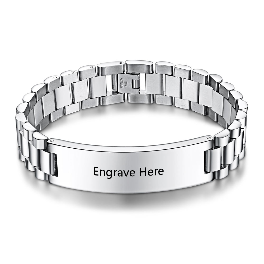 Personalized Engrave Men Bracelet Cool Wide Stainless Steel Biker Chain Custom Engraving Bangles For Ba101452 In Link Bracelets