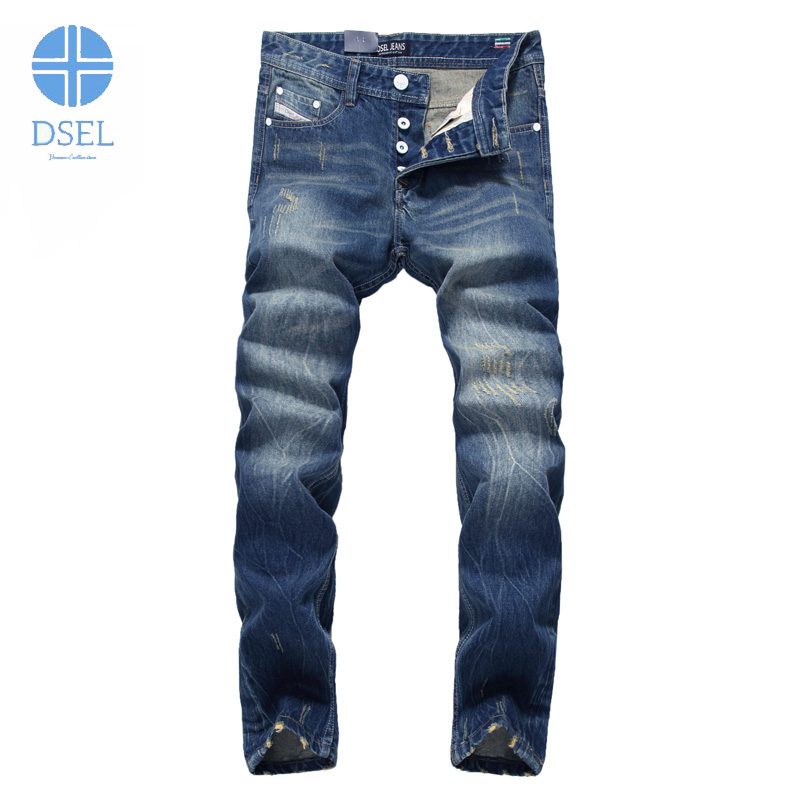 Dsel Brand Jeans Men Casual Pants Straight Fit Deim Blue Men`s Jeans Italian Style Mid Stripe Ripped White Buttons Jeans D9003