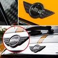 2 Carbon Fiber Boot Lid Trunk Hood Wings Emblem Badge Covers For Mini Cooper R56