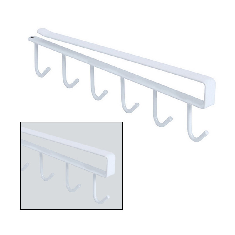 6 Hooks Kitchen Storage Rack Holder Hang Kitchen Cabinet Multifunctional Home Accessories Cooking Tools Towel StorageA