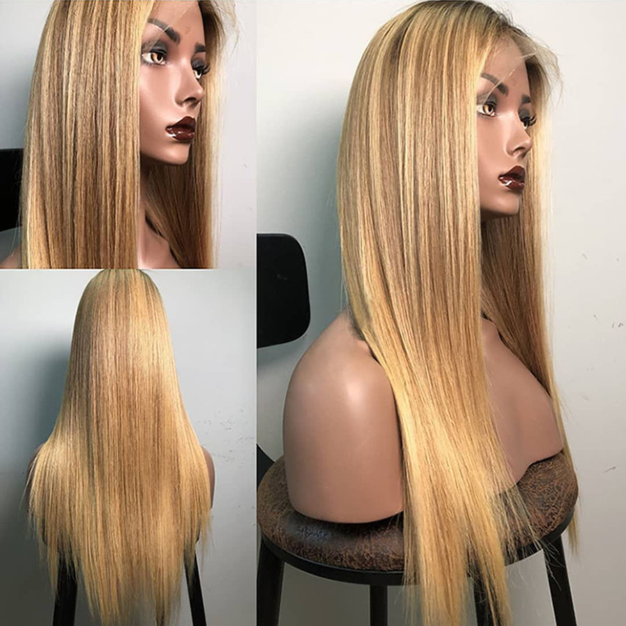 13*6 Blonde Straight Lace Front Human Hair Wigs With Baby Hair Pre Plucked Ombre Lace Front Wig 1b/27# Color Brazilian Remy Hair