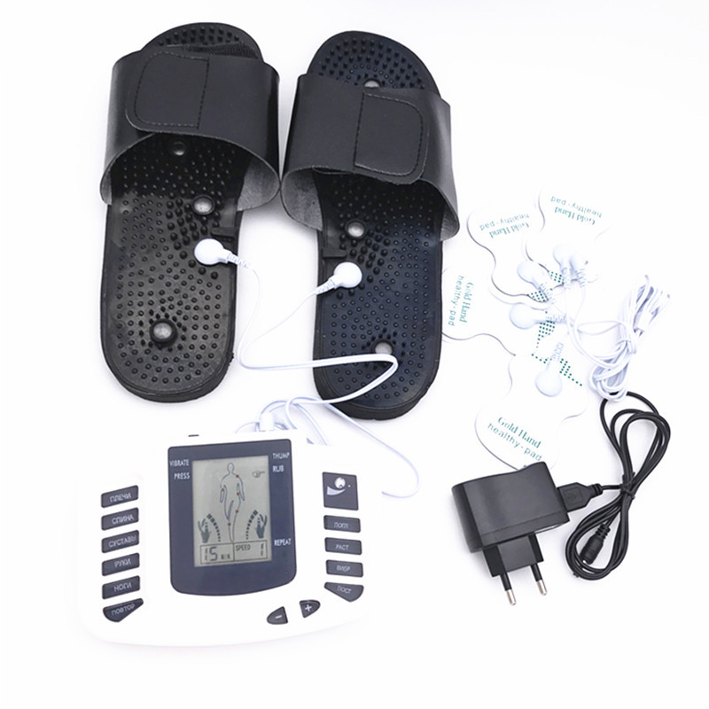 Health Care Electric Body Therapy Massager Tens Units Machine Pulse Relax Muscle Stimulator + Foot Massage Slippers Box Packing 4 electrode tens acupuncture electric therapy massageador machine pulse body slimming sculptor massager apparatus body care