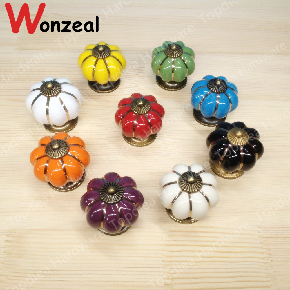 Dia. 39mm Colorful Ceramic Pumpkin Shape furniture handle single knob drawer pulls with Zinc alloy base for Kitchen Cabinet Door 10pcs kitchen furniture pull pumpkin shape pastoralism ceramic knob various color single hole knobdrawer knob dia 40mm