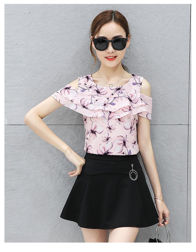 2019 Summer New Fashion Women Print Chiffon Blouse Top Korean