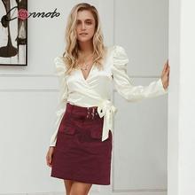 Conmoto mujeres 2019 Otoño Invierno faldas de pana moda femenina alta cintura Borgoña cinturón Mini Falda Mujer negocios Chic faldas