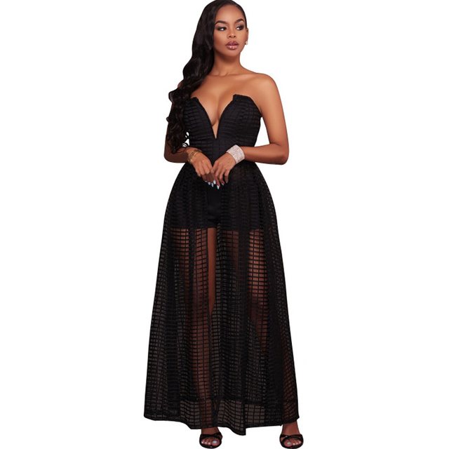 2017 Summer False Two Piece Strapless White Maxi Dress Sexy Off Shoulder  Backless Plaid Bodycon Women Vestidos Long Black Dress bf9bb5f5f788