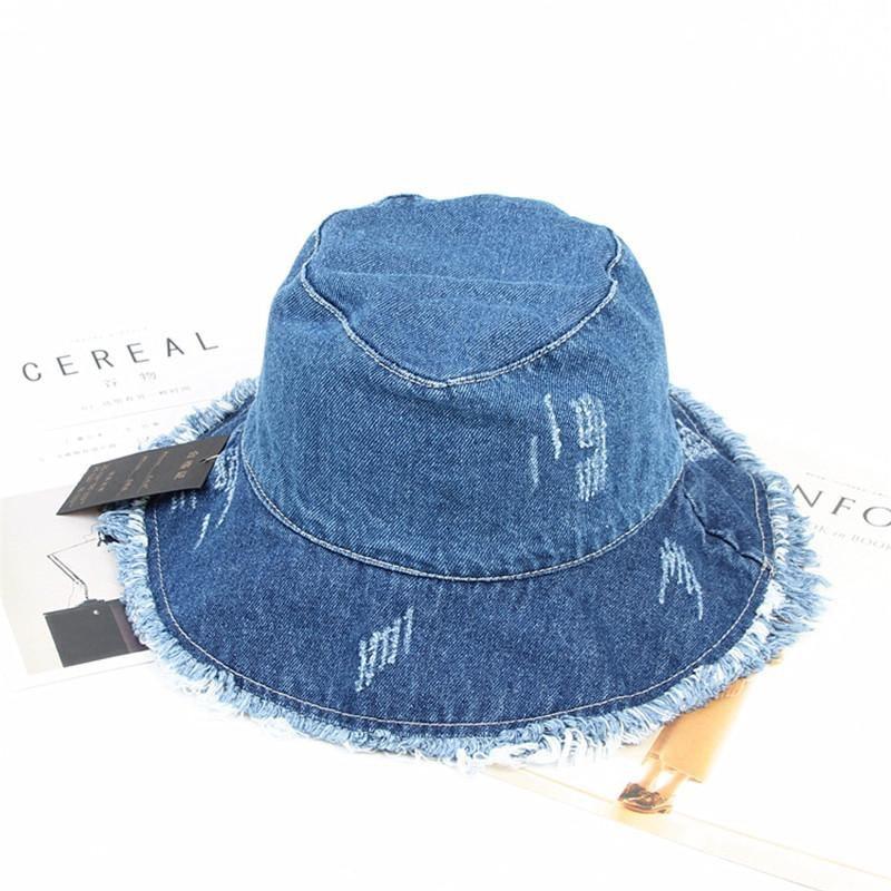 2019 Solid Denim Retro Bucket Hat Fisherman Hat Outdoor Travel Hat Sun Cap Hats For Girl And Women 275