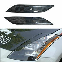 Real Carbon Fiber Car Head Light Lamp Eyebrow Cover Trim Strip For Nissan 350Z 2003 2009