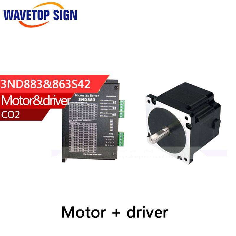 leadshine cnc laser step motor 863S42+step driver 3ND883 for Co2 laser cutting/engraving machines leadshine 2 phase stepping motor drive ma860h for laser engraving cutting machine stepper motor driver