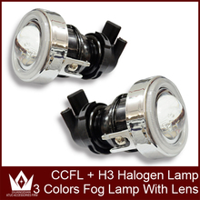 Guang Dian car led light Fog Lamp Lights Lens CCFL Halo Ring angel eye HID Xenon bulb H3 35w Metal 6000k with slim ballast
