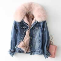 Parka Echtpelz Mantel Winter Jacke Frauen Echt Fox Pelz Denim Jacken Parka Frauen Koreanische Warme Parkas Plus Größe KQN68654 y1933