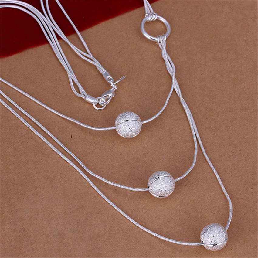 New Listing Hot selling silver plated noble luxury refined beads sand three lines Necklace Fashion trends Jewelry Gifts
