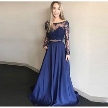 Elegant Two Pieces Evening Dress With Long Sleeves 2019 Scoop Lace Appliques Beaded Prom Gowns Floor Length Formal Party Dress