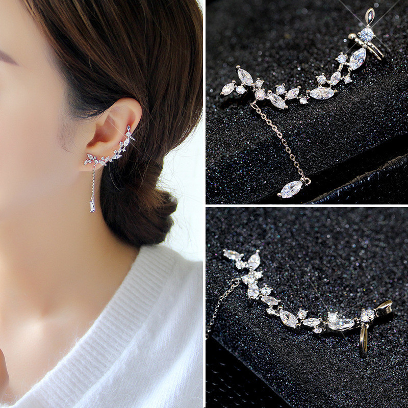 Ajojewel High Quality Crystal Clip Earrings Elegant Leaves Long Zirconia Jewelry For Women