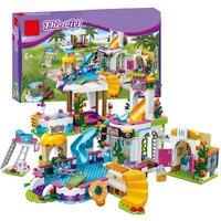 New Heartlake Girls club Summer Pool fit legoing friends city model Building block Bricks diy toys girl gift for Christ