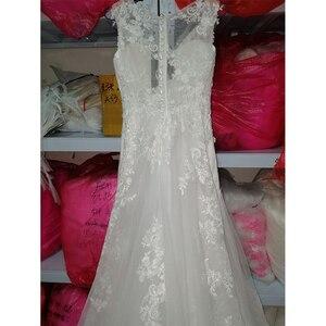 Image 5 - Fansmile New Vestido De Noiva White Lace Mermaid Wedding Dress 2020 Train Plus Size Customized Wedding Gown Bride Dress FSM 466M