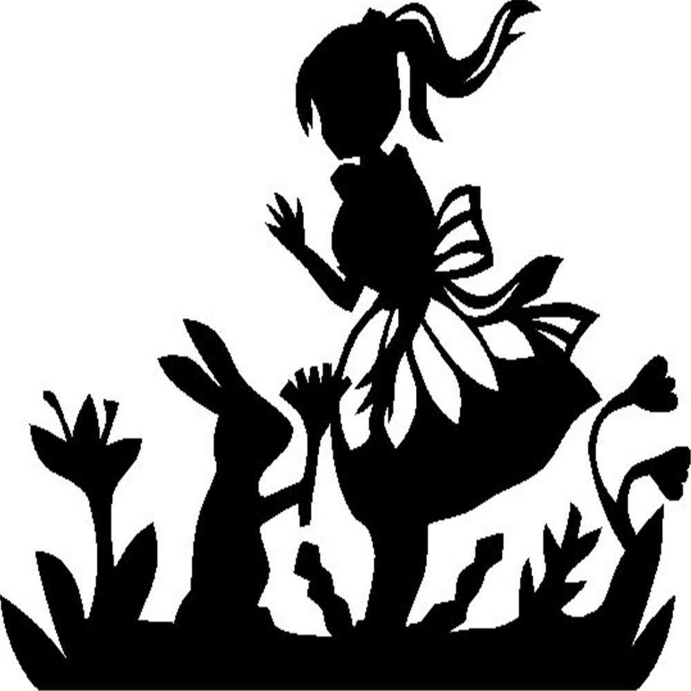 Alice And The Rabbit Wall Sticker Alice In Wonderland Removable Pvc  Houseware Wall Decal For Kids