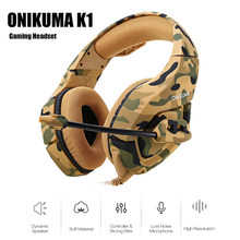 ONIKUMA K1 Camouflage PS4 Headset Bass Gaming Headphone Game Earphone Casque with Mic for PC Mobile Phone Xbox One Tablet K1b(China)