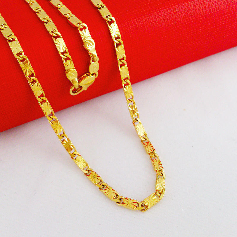 New Fashion Jewelry Vacuum Plating 24K Gold Women/Men 60cm ...