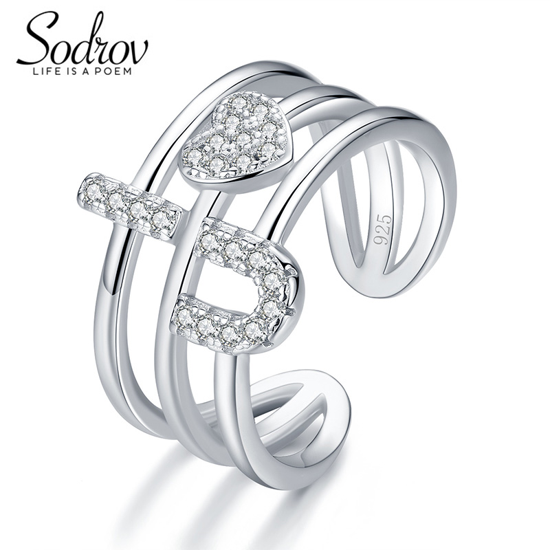 SODROV I Love You Genuine 925 Sterling Silver Open Engagement R Jewelry For Women HR030