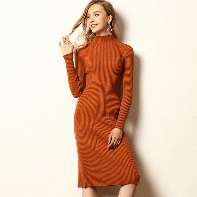 290767e1c7d Autumn Winter Knitted Cotton Long Sweater Dresses Women Pullover Half Turtleneck  Women A-Line Warm Knit Sweater Dress Mid-Calf