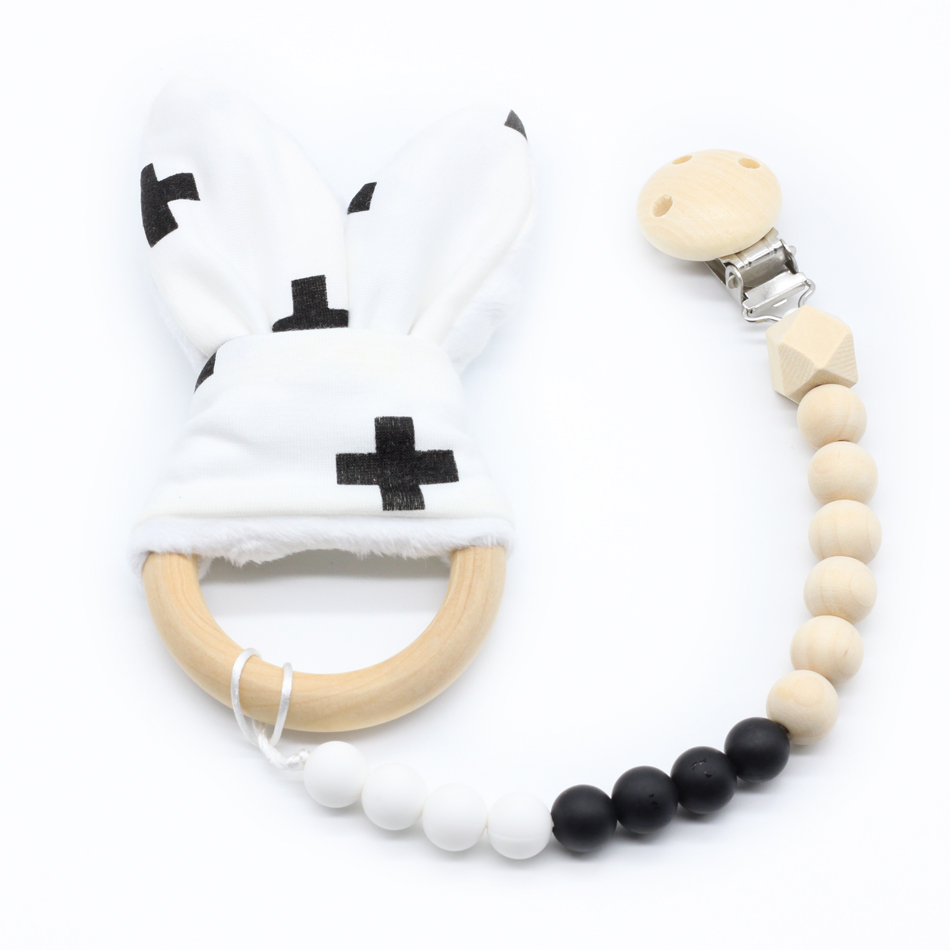 Baby Teether Pacifier Holder 1pcs Sensory Chewing Toy Baby Nursing Bunny Ear Wooden Ring Silicone Teething